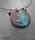 collier CERAMIQUE feuille turquoise
