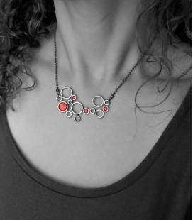 collier BULLES bronze / rouge