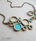 collier BULLES bronze / turquoise