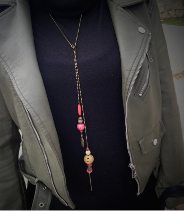 collier LASSO bronze / rose