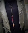 collier LASSO bronze / rose