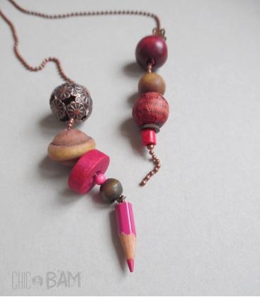 collier LASSO cuivre / crayon rose