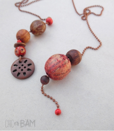collier LASSO cuivre / graines