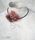 collier COQUELICOT tulle rouge / bouton