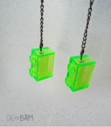 boucles LÉGO vert fluo / transparent