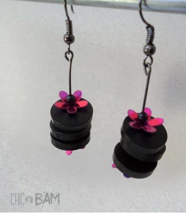 boucles BOUTONS noirs / fleurs