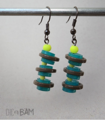 boucles BOUTONS turquoise / fluo