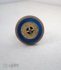 bague BOUTON bleu / rivet laiton