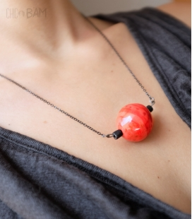 collier TERRE CUITE perle rouge
