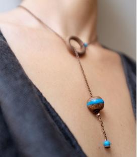 collier ANNEAU bois / turquoise