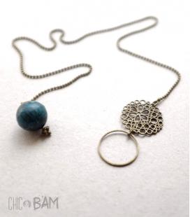 collier ANNEAU perle bleue