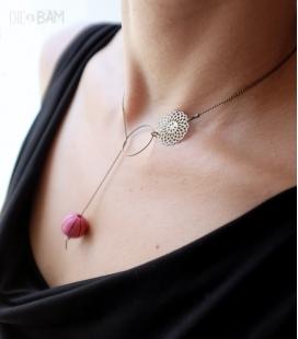 collier ANNEAU perle rose