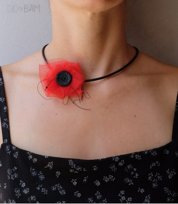 COQUELICOT tulle rouge / bouton