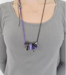 sautoir BOUTONS violet / noir