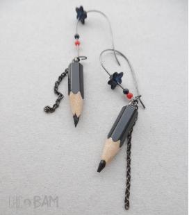 boucles CRAYONS noir / tulipe