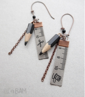 boucles CRAYONS noirs / ruban couture