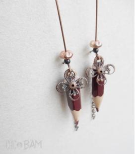 boucles CRAYONS marron / fleur
