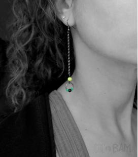 boucles longues FLUO noir / vert