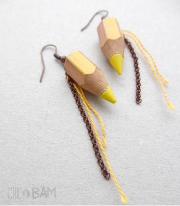 boucles CRAYONS jaunes / cuivrés