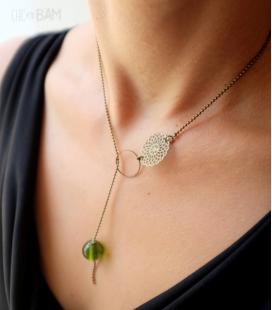 collier ANNEAU perle verre