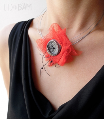 COQUELICOT tulle rouge / cable
