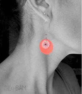 boucles FLEURS rouge / rose