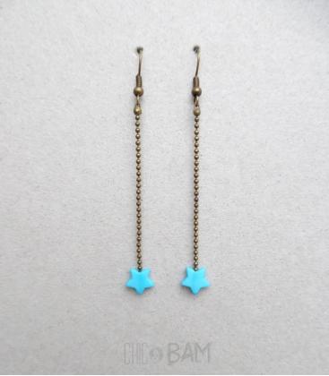 boucles ÉTOILES turquoise / bronze