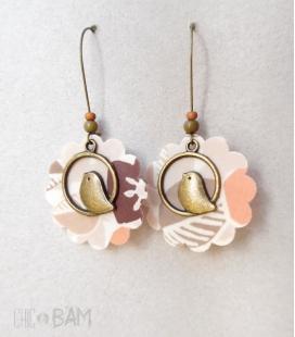 boucles LIBERTY beige / rose