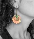 boucles FLEURS orange / vert