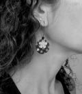 boucles TISSU noir / gris / fleurs