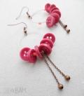 boucles BOUTONS créoles cuivre / rose
