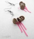 boucles BOUTONS créoles / chaine rose