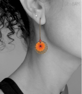 boucles ESTAMPES orange / bronze