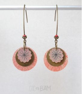 boucles LIBERTY jungle rouge / fleur