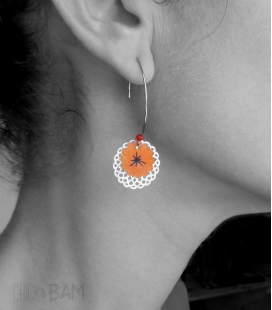 boucles ESTAMPES orange / argent