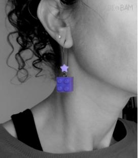 boucles LÉGOS violets / étoiles