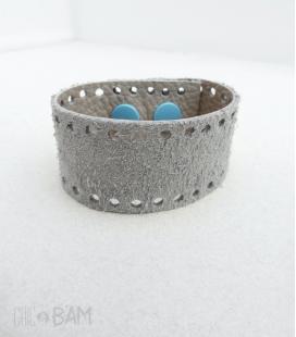 bracelet CUIR nubuck gris