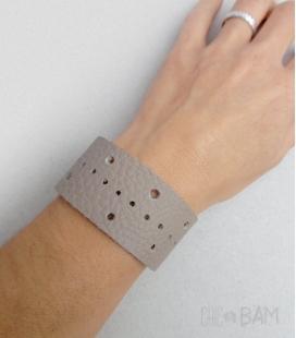 bracelet CUIR beige / mastic