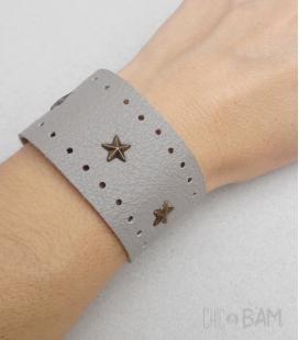 bracelet CUIR beige / étoiles