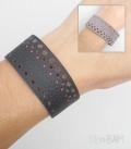 bracelet CUIR reversible / pois rouge