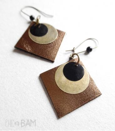 boucles CUIR bronze / noir