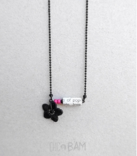 collier TYPO noir / rose