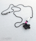 collier TYPO noir / rose