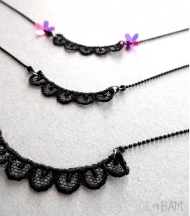 collier DENTELLE noir long