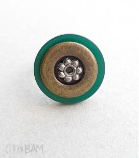bague BOUTON vert / bronze
