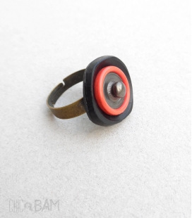 bague BOUTON rivet / vermillon