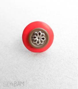 bague BOUTON rouge / fleur