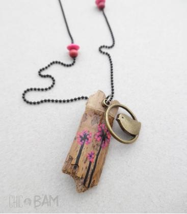 sautoir GRI-GRI rose / oiseau