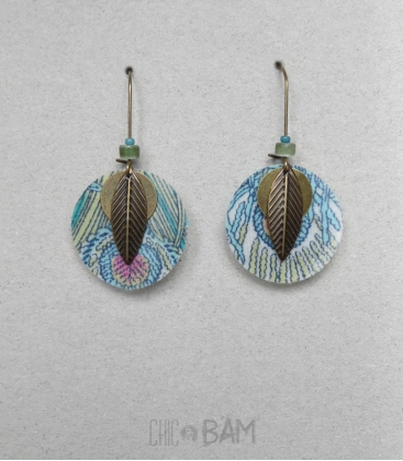boucles LIBERTY bleu / plumes