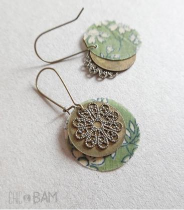 boucles LIBERTY kaki / fleurs